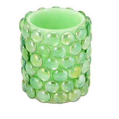 """Melrose 4"""" Green Beaded LED Lighted Battery Operated Flameless Pillar Candle - Amber Flicker Flame"""