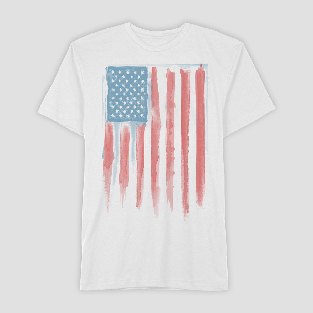 Well Worn Men's Short Sleeve Americana Flag T-Shirt - Dove White S