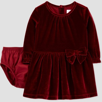 Baby Girls' Velvet Long Sleeve Dress with Diaper Cover - Just One You® made by carter's Maroon Newborn