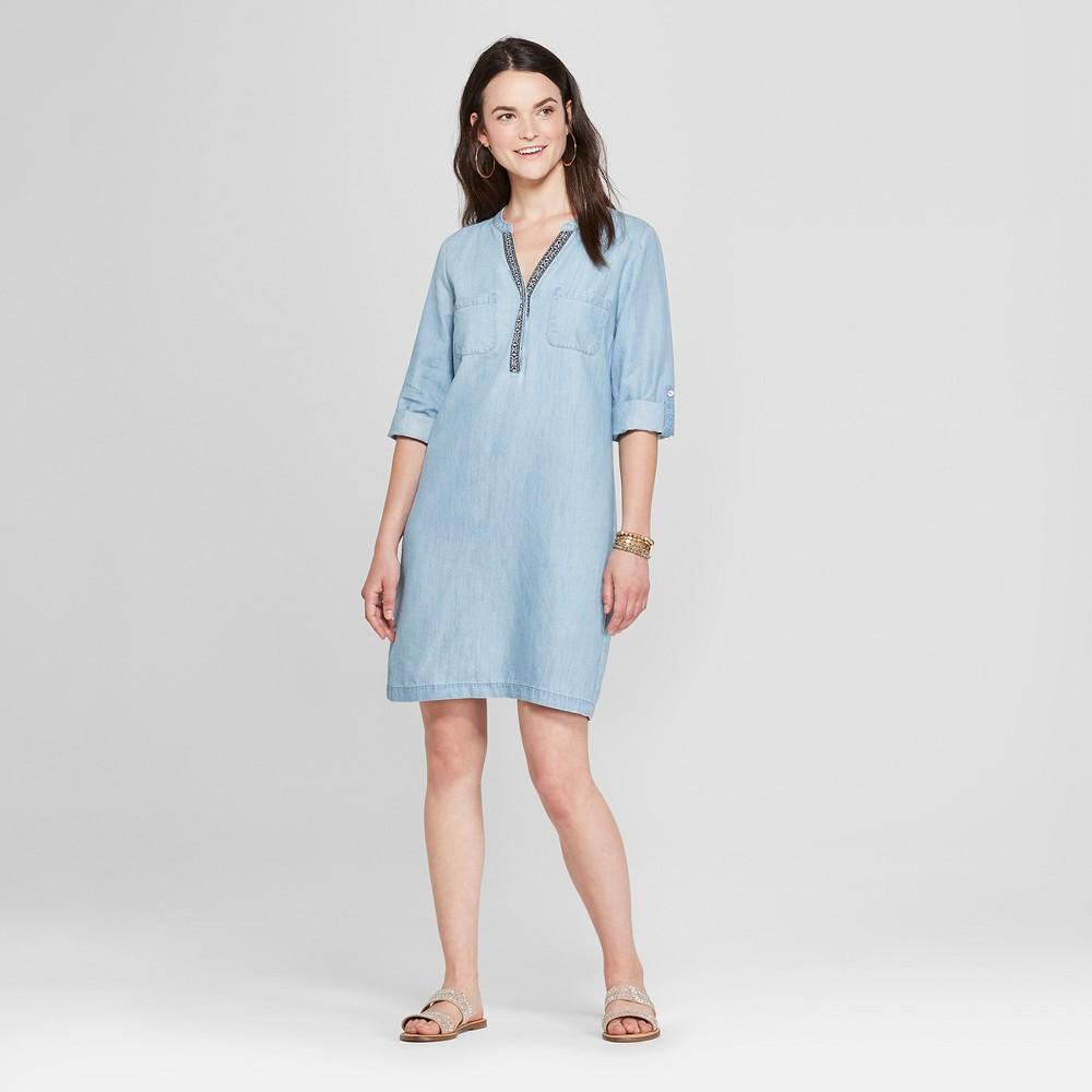 Women's Trimmed Shirt Dress - Spenser Jeremy - Indigo 8, Blue