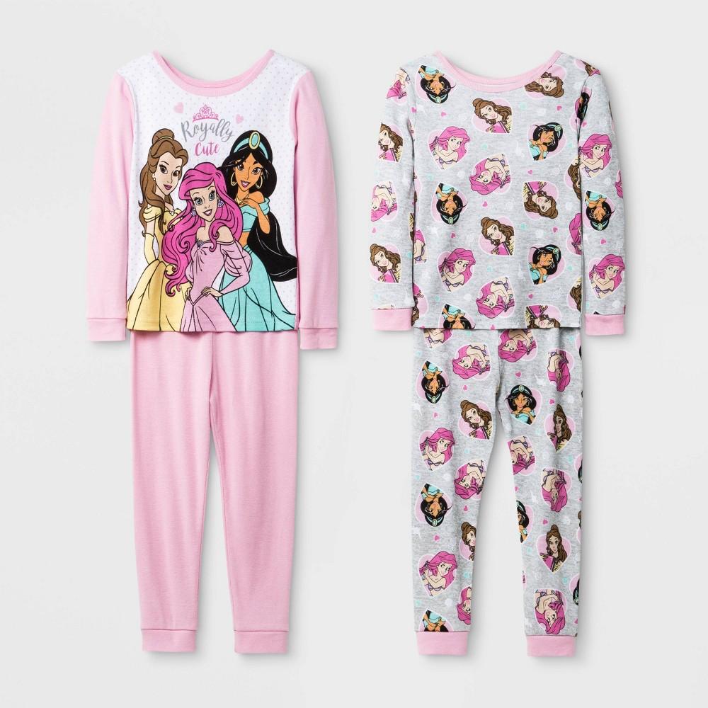 Image of Baby Girls' 4pc Disney Princess Pajama Set - Pink 12M, Girl's