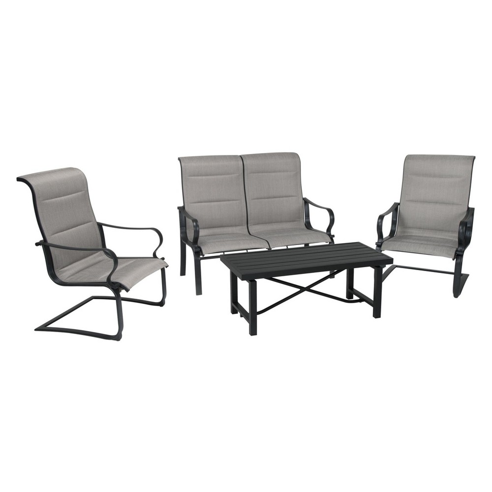 'It's a Snap' 4pc Patio Conversation Set with Rocking Chairs - Brown/Gray - Cosco Outdoor Living