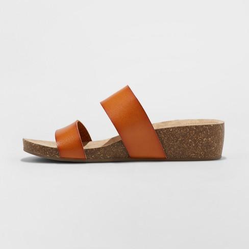 a6f50e476af Women s Kerryl Wedge Footbed Slide Sandals - Universal Thread™ Cognac 5    Target