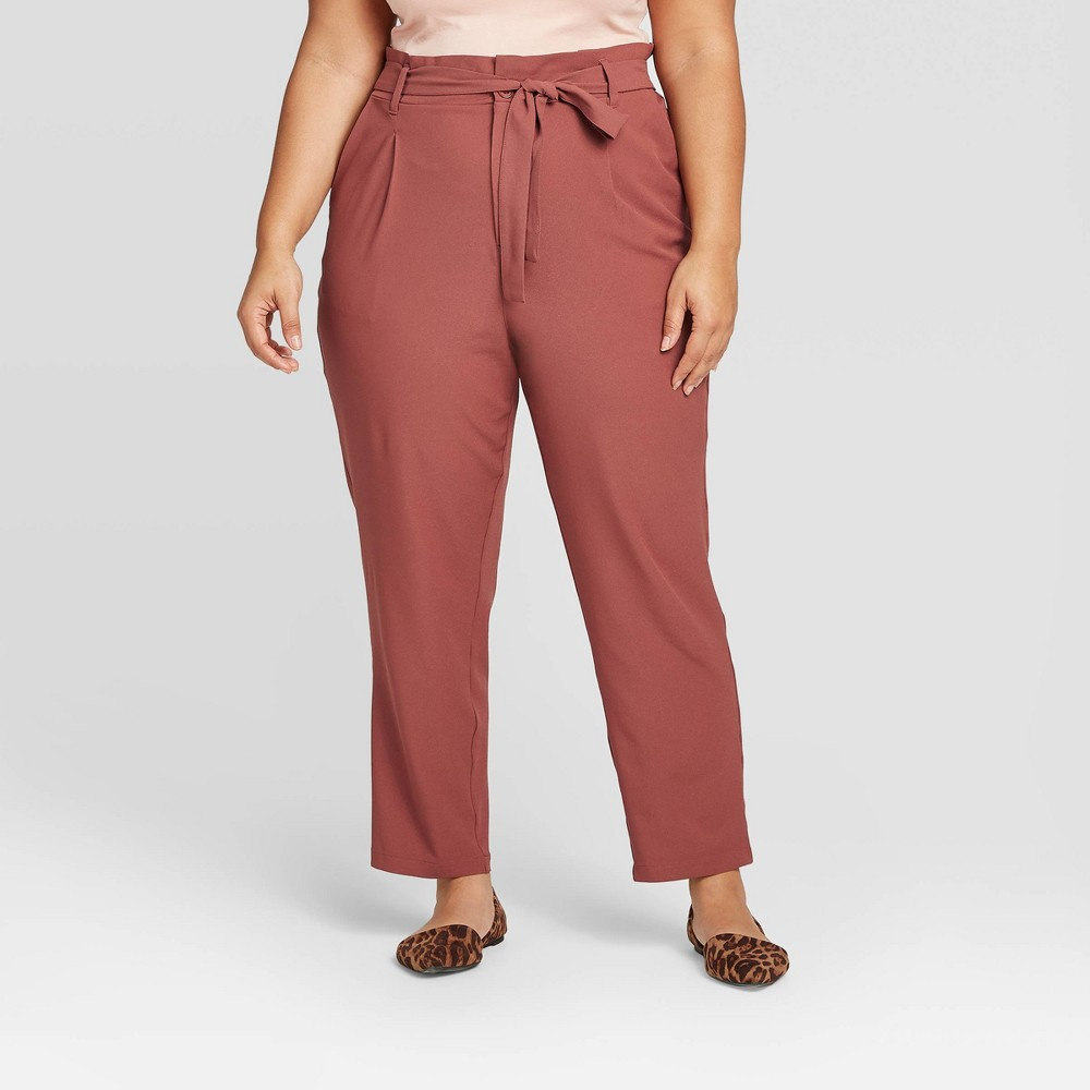 Women's Plus Size Mid-Rise Straight Leg Utility Ankle Pants - Ava &Viv Rose 14W, Women's, Pink was $29.99 now $20.99 (30.0% off)