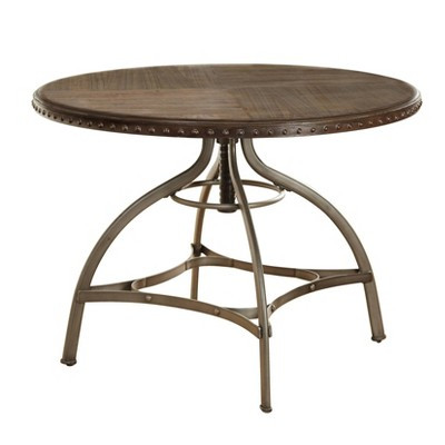 Adjustable Height Dining Table with Nailhead Pewter Silver - Buylateral