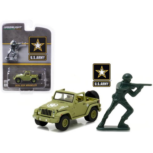 2016 Jeep Wrangler U.S. Army with U.S. Army Soldier Figure 1/64 Diecast Model Car by Greenlight - image 1 of 1