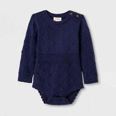 Baby Girls' Long Sleeve Legless Romper Sweater - Cat & Jack™ Blue 3-6M