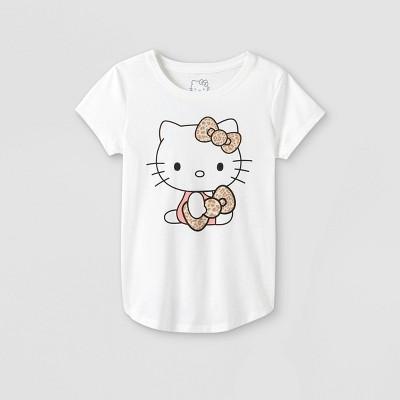 Girls' Hello Kitty Short Sleeve Graphic T-Shirt - Off-White