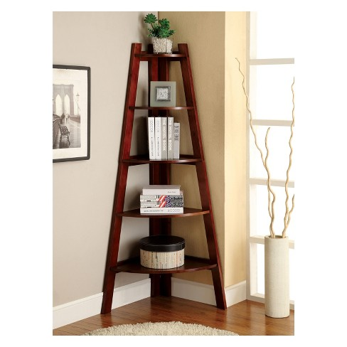 295 Lynch 5 Shelf Corner Bookcase Cherry