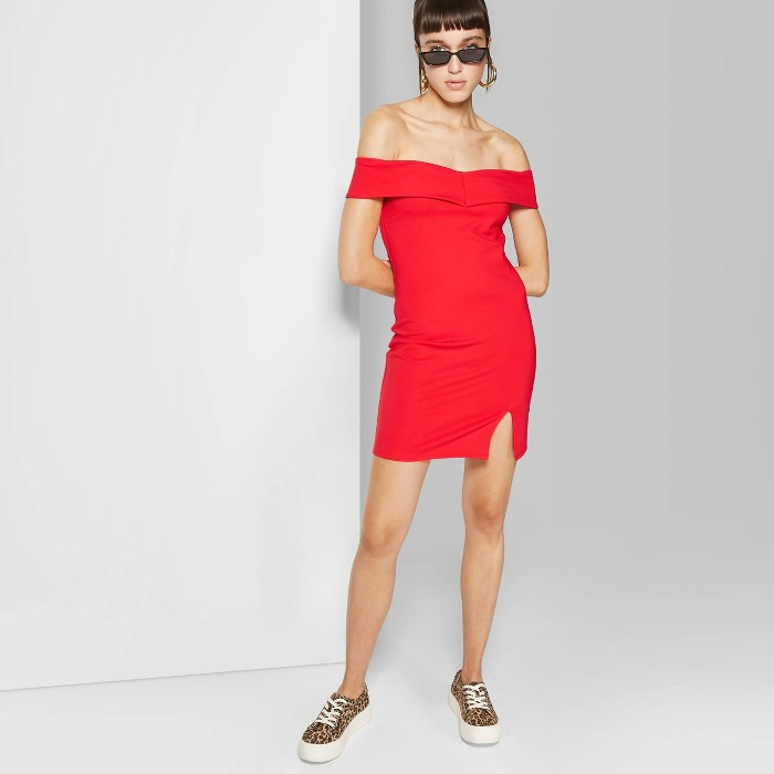 Women's Off the Shoulder Knit Mini Dress - Wild Fable™ - image 1 of 3