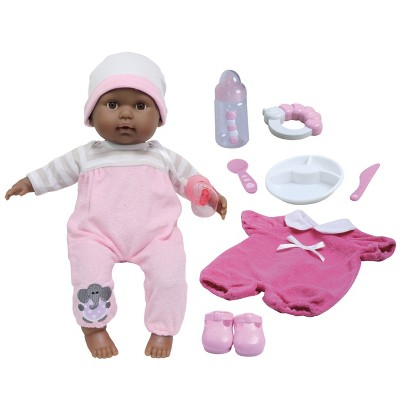 """JC Toys Berenguer Boutique - 10 Piece Gift Set with Pink 15"""" Realistic Soft Body Baby Doll - Open/Close Brown Eyes"""