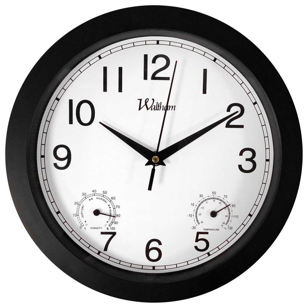 "Image of ""10"""" Weather Sub Dials Wall Clock Black - MZB, White Black"""