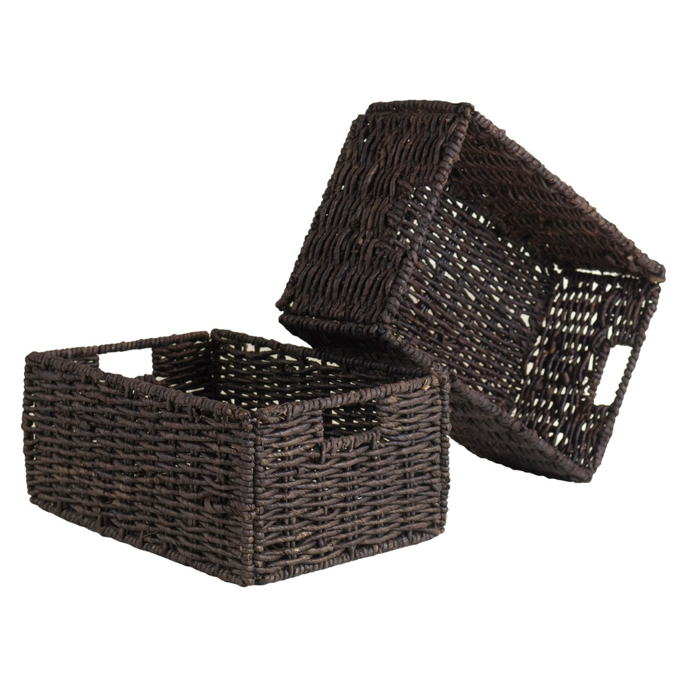 Granville Set of 2 Medium Foldable Baskets - Chocolate (Brown) - Winsome