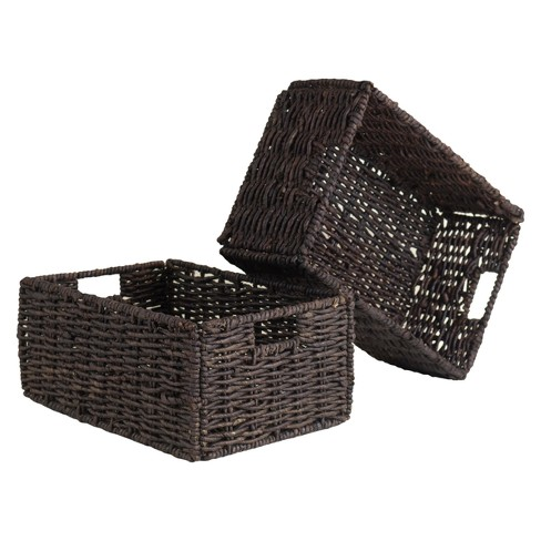 Granville Set of 2 Medium Foldable Baskets - Chocolate - Winsome - image 1 of 3