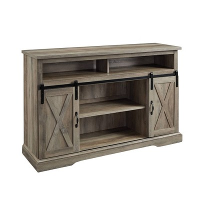 "Farmhouse Sliding Barndoor Highboy TV Stand for TVs up to 58"" - Saracina Home"