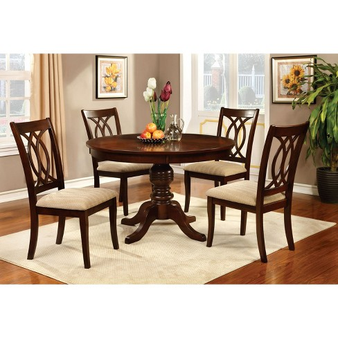 Round Table Top With Pedestal Dining Wood Brown Cherry Furniture Of America Target