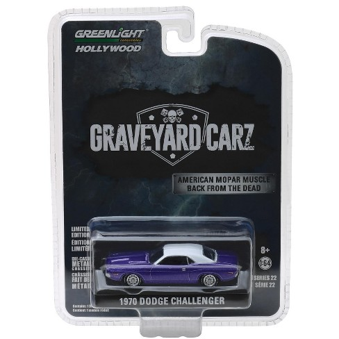 "1970 Dodge Challenger Purple w/White Top ""Graveyard Carz"" (2012) TV Series 1/64 Diecast Model Car by Greenlight - image 1 of 1"