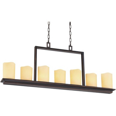 """Franklin Iron Works Oiled Bronze Large Linear Pendant Chandelier 38"""" Wide Modern Amber Glass 7-Light Kitchen Island Dining Room"""