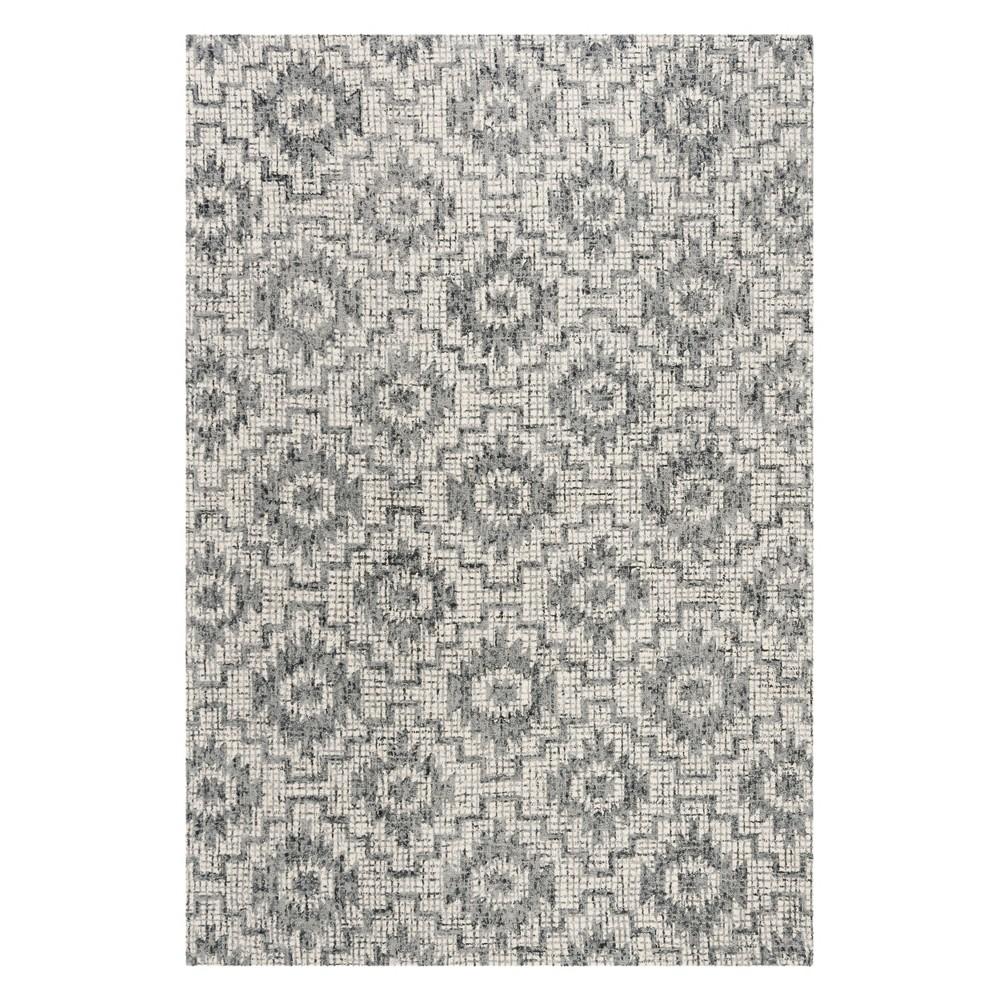 6'X9' Tribal Design Tufted Area Rug Ivory/Dark Gray - Safavieh, Gray White