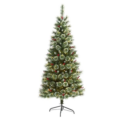 6ft Nearly Natural Pre-Lit LED Frosted Swiss Pine Artificial Christmas Tree Clear Lights