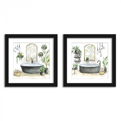 Americanflat Tropical Shower Plants - Set of 2 Framed Prints by Wild Apple
