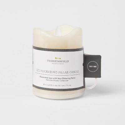 """4"""" x 3"""" LED Flickering Flame Candle Cream - Threshold™"""