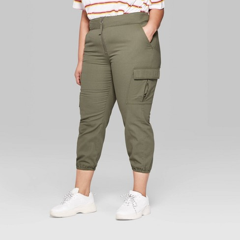 f50589ddb1e Women s Plus Size High-Rise Zip Front Cargo Pants - Wild Fable™ Olive