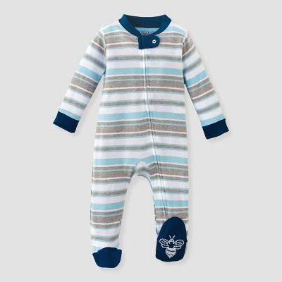 Burt's Bees Baby® Baby Boys' Organic Cotton Garden Stripe Sleep N' Play - Blue 6-9M