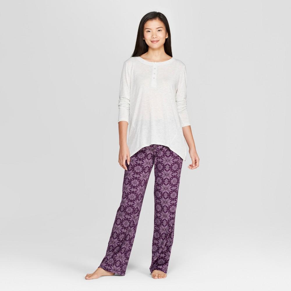 Women's Cozy Fleece Fair Isle Star Pajama Set Gray XL