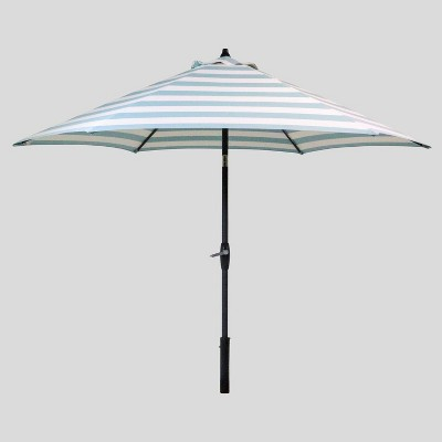 9' Round Cabana Stripe Patio Umbrella DuraSeason Fabric™ Turquoise - Black Pole - Threshold™