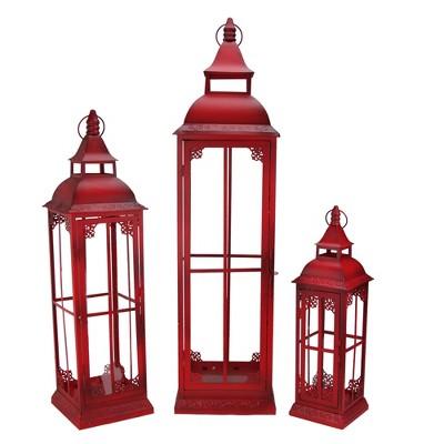 """Melrose Set of 3 Red Weathered Metal & Glass Pillar Candle Lanterns - 38"""""""