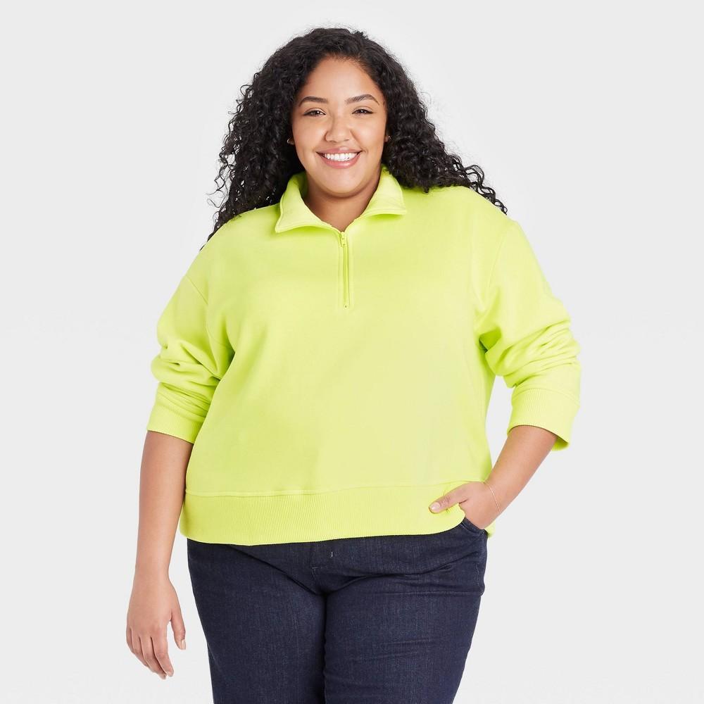 Women 39 S Plus Size All Day Fleece Quarter Zip Sweatshirt A New Day 8482 Light Green 2x
