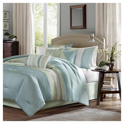 Kerry Pleated Colorblock Comforter Set (Full)Green - 7pc