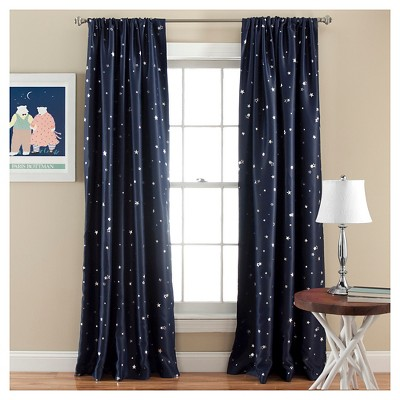 52 x84  Star Blackout Window Curtain Panels Navy - Lush Decor