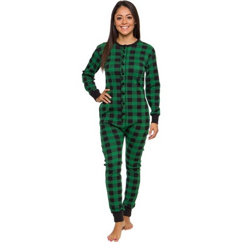 Silver Lilly - Slim Fit Women's Buffalo Plaid One Piece Pajama Union Suit with Butt Flap - image 1 of 4