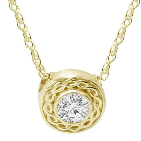 Pompeii3 1/10CT Solitaire Round Diamond Braided Pendant 14K Yellow Gold 6MM Wide - image 1 of 3