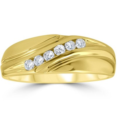 Pompeii3 Mens 14K Yellow Gold 1/4ct Diamond Wedding Ring Band