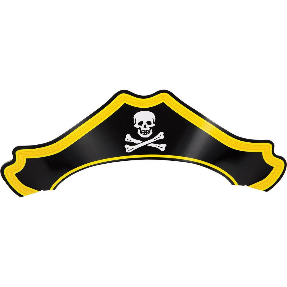 Image of 24ct Paper Pirate Hat, Kids Unisex, Yellow Black