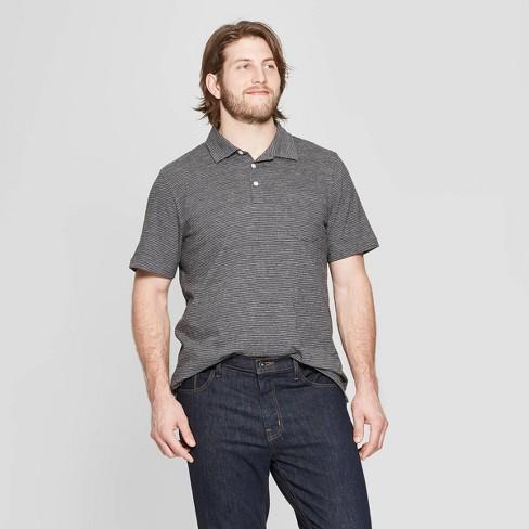 Men's Big & Tall Pin Striped Regular Fit Short Sleeve Slub Jersey Polo Shirt - Goodfellow & Co™ Thundering Gray - image 1 of 3