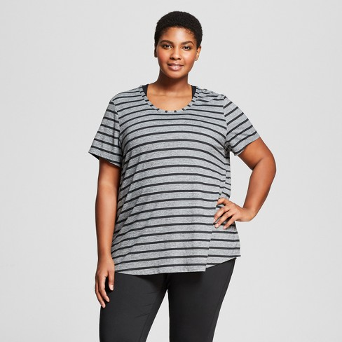 78504e2010358 Women s Plus-Size Striped Graphic T-Shirt - C9...   Target