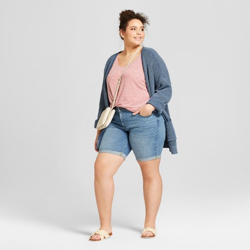 Womens Plus Size Roll Cuff Bermuda Jean Shorts Universal Thread