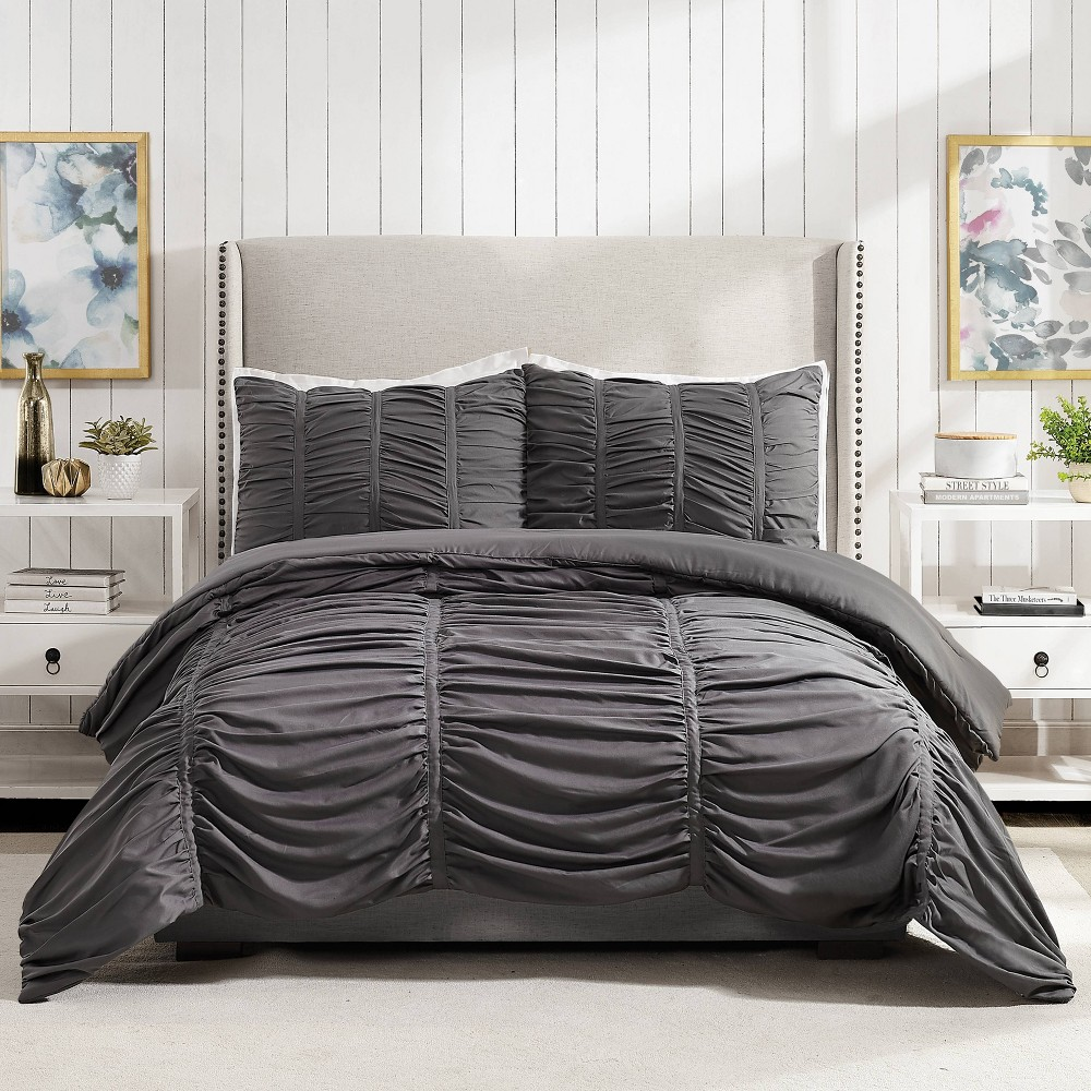 Image of Modern Heirloom Emily Texture Full/Queen Emily Texture Comforter Set Dark Gray