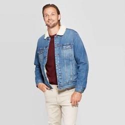 Men's Standard Fit Long Sleeve Sherpa Denim Jacket - Goodfellow & Co™ Denim Blue