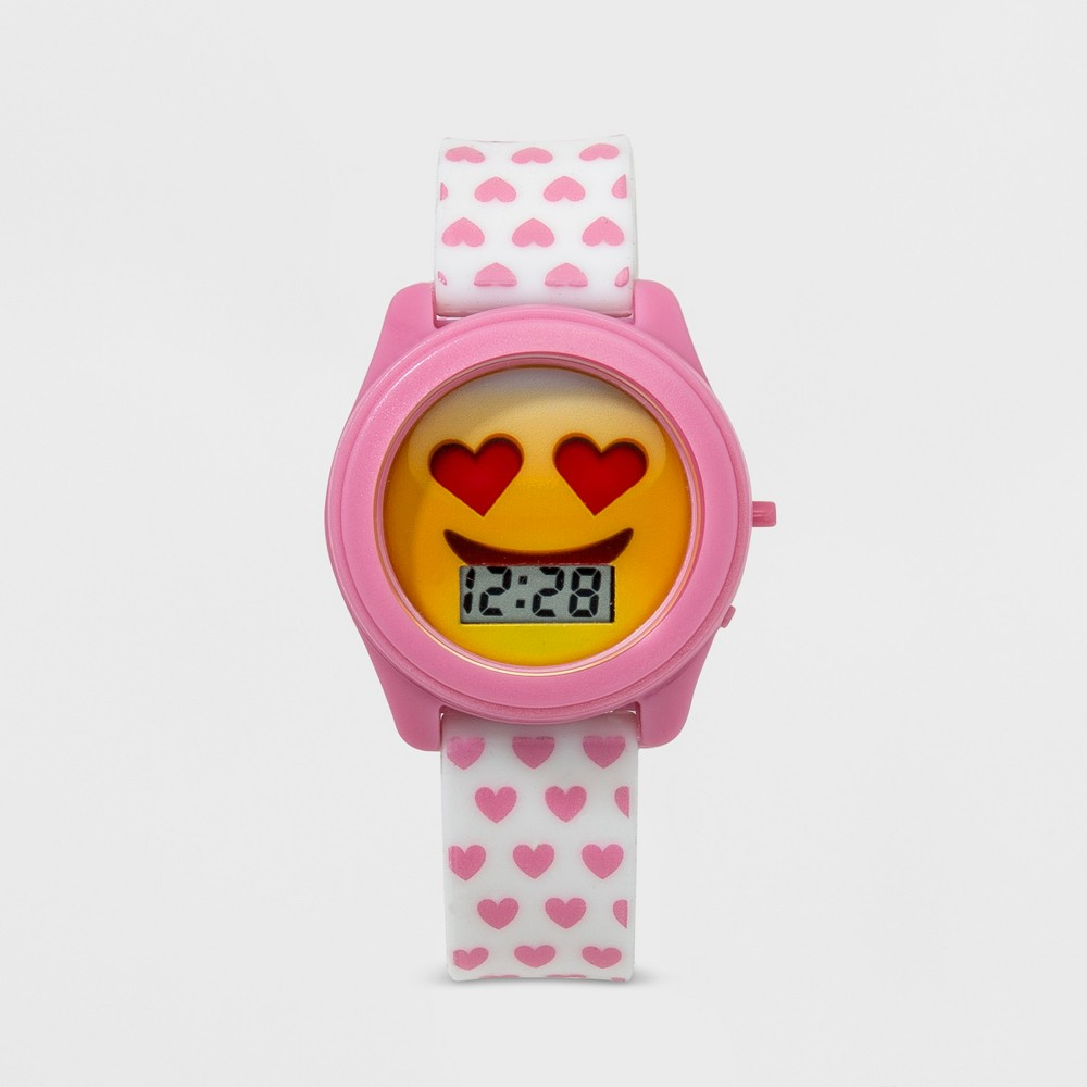 Image of Girls' Heart Eyes Happy Face Lcd Watch, Pink