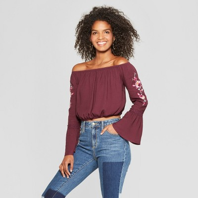 f2186154063ab Women s Long Sleeve Embroidered Sleeve Off The Shoulder Top ...