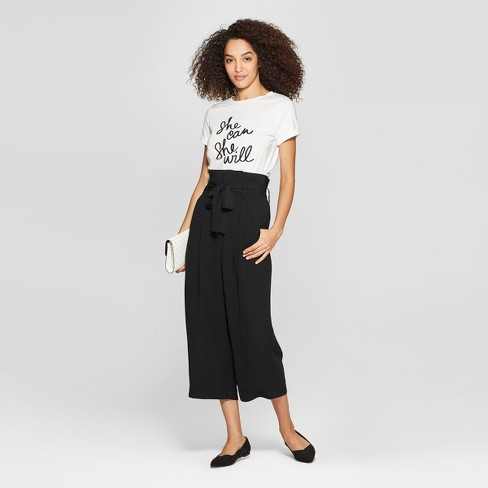 fe8516113260 Women s Wide Leg Paperbag Crop Pants - A New Day™ Black   Target