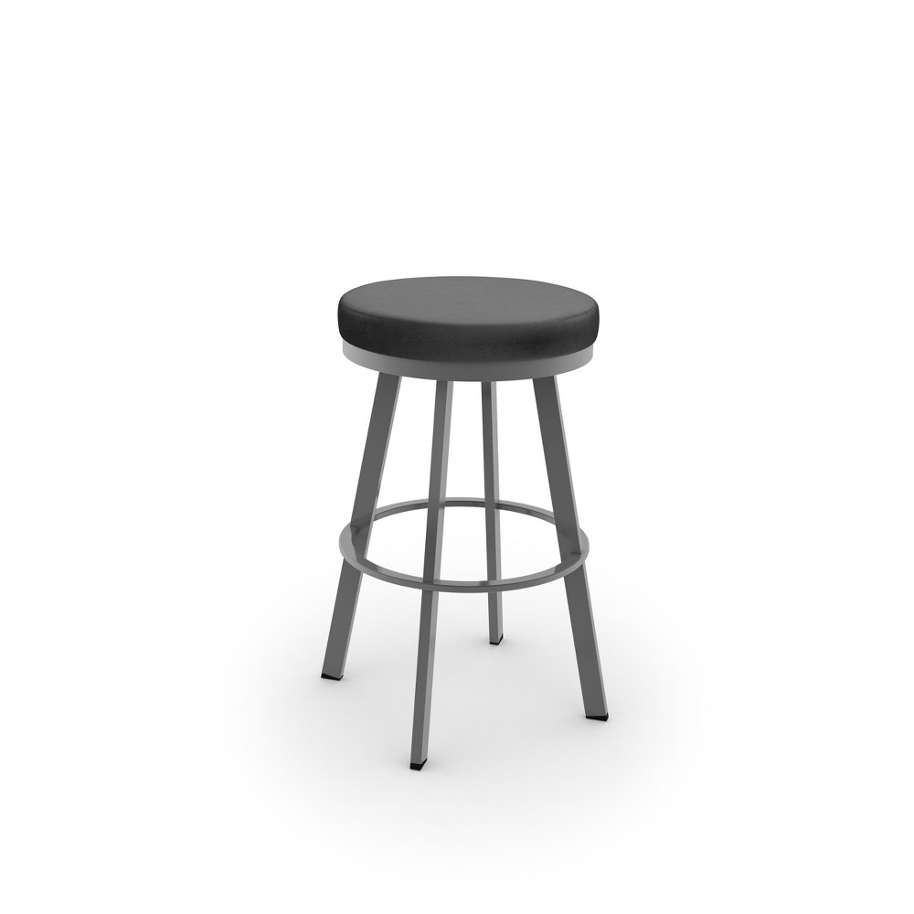 Amisco 26 Swice Counter Stool with Black Upholstered Seat Glossy Gray Metal, Black & Glossy Gray Metal