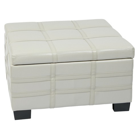 Remarkable Detour Storage Strap Ottoman With Tray Eco Leather Storage Ottoman Cream Osp Home Furnishings Gmtry Best Dining Table And Chair Ideas Images Gmtryco