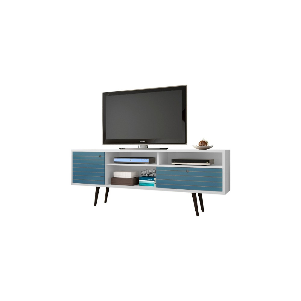 70.86 Liberty Mid Century Modern TV Stand White/Aqua Blue - Manhattan Comfort