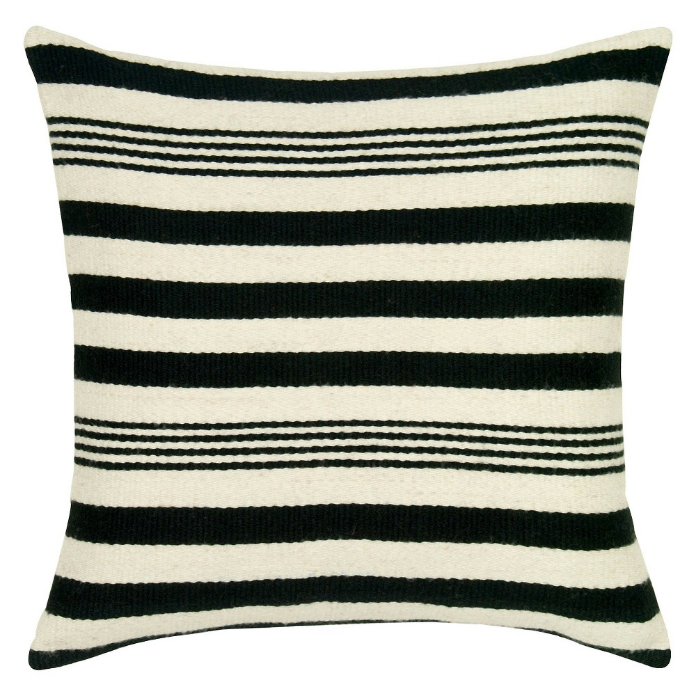 Black Woven Wool Pattern Throw Pillow Stripes Motif (18